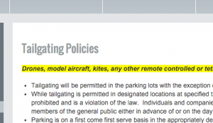 Venue tailgating policy