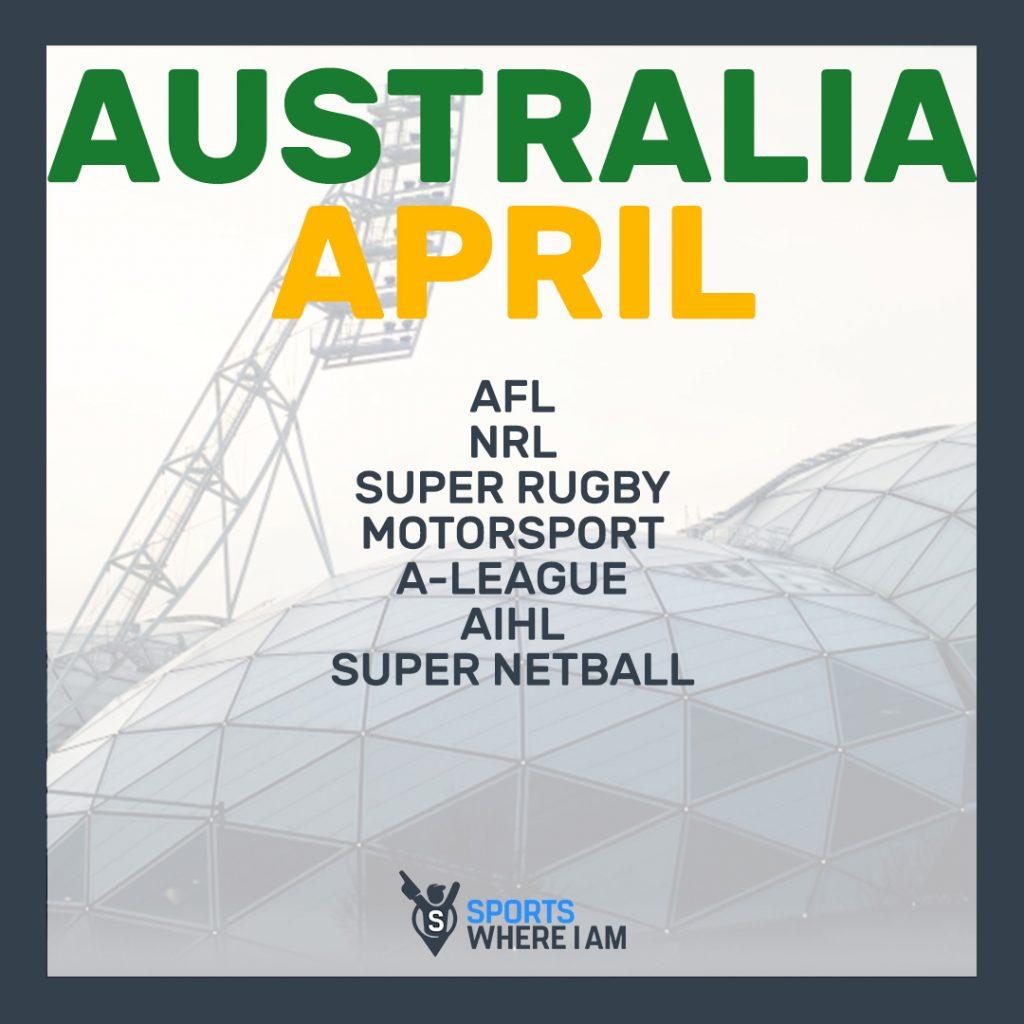 APRIL AUSTRALIA SPORTS CALENDAR