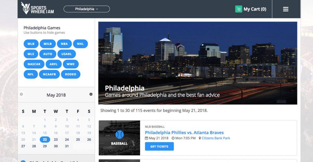 Sports Where I Am Philadelphia page before change